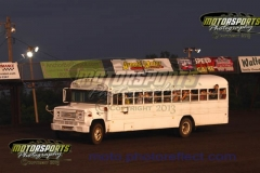 The wheels on the bus go around and around with free rides on the track for the Racing Rascals club members.