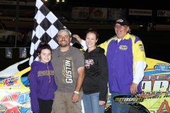 Jimmy Gustin passed for the lead on lap 11 and took home the checkers in the IMCA Modified division at Boone Speedway on Saturday, June 2, 2012.