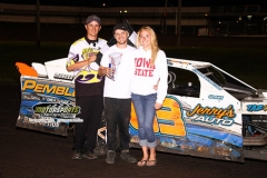In a yellow/checkered finish, Daniel Tasler was declared the winner in his IMCA Northern SportMod on Saturday, June 29, 2013, at Boone Speedway.