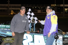 For the first time this season, Brian Miller stepped into victory lane in the IMCA SportMod division on Saturday, May 12, 2012, at Boone Speedway.