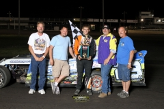 Nick Roberts brought it home for the win in the IMCA SportMod class on Saturday, May 19, 2012.