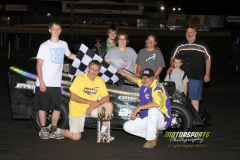 A last lap pass gave Ed Zehm the Mod Lite win at Boone Speedway on Satuday, May 26, 2012.