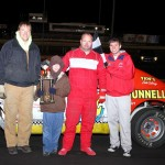 IMCA Stock Car driver Alan Van Gorp in Victory Lane at Boone Speedway on Saturday, April 16, 2011