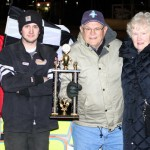 For the second time in as many weeks, Micheal Murphy stands in Victory Lane after taking the IMCA Hobby Stock checkers at Boone Speedway on Saturday, April 16, 2011.