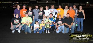 Mike VanGenderen and crew stand in the IMCA Modified Victory Lane on Saturday, June 18, 2011, at Boone Speedway.