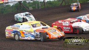 IMCA Modifieds in action on Saturday, June 4, 2011, at Boone Speedway.