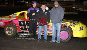 Damon Murty drove his way from a 12th place start to the top spot in the IMCA Stock Cars at Boone Speedway on Saturday, April 20, 2013.
