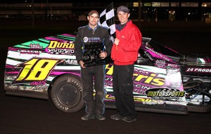 Jake Durbin passed for the lead on lap 6 and led his IMCA Modified to the line at Boone Speedway on Saturday, May 11, 2013.